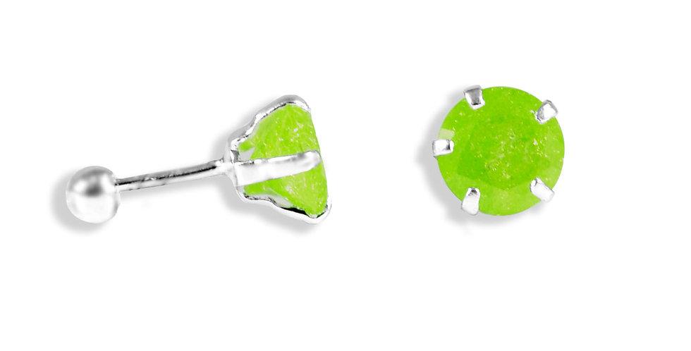 CRACKED CZ  GREEN EARRINGS 6MM
