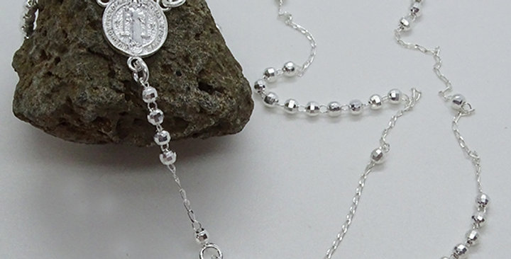 3MM FACETED BEAD ROSARY 22 INCHES