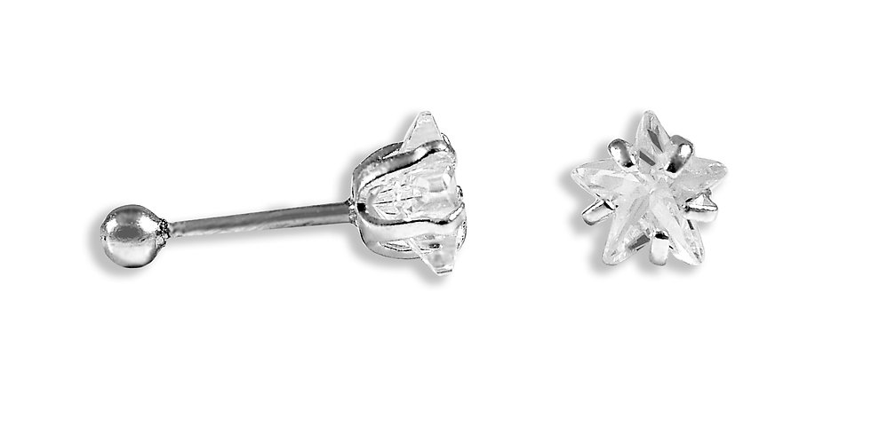CZ STAR EARRINGS 6MM