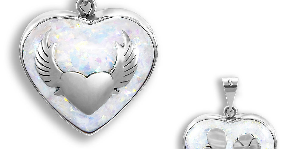 WINGS AND DRAGONFLY ANGELS CALLER HEART PENDANT 28MM