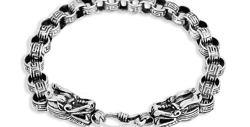 8MM  DRAGON'S HEAD BRACELET 7.5 INCHES
