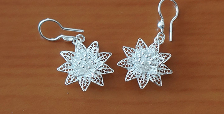 FILIGREE POINSETTIA FLOWER DANGLE EARRINGS