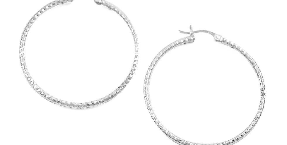 DIAMOND CUT HOOP EARRINGS 40MM