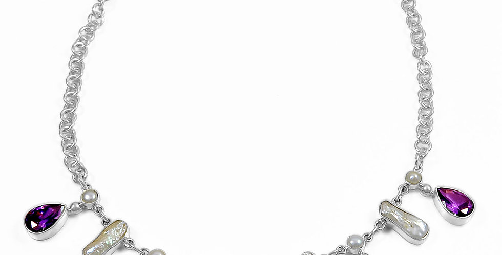 """CZ AND PEARL NECKLACE 18"""""""
