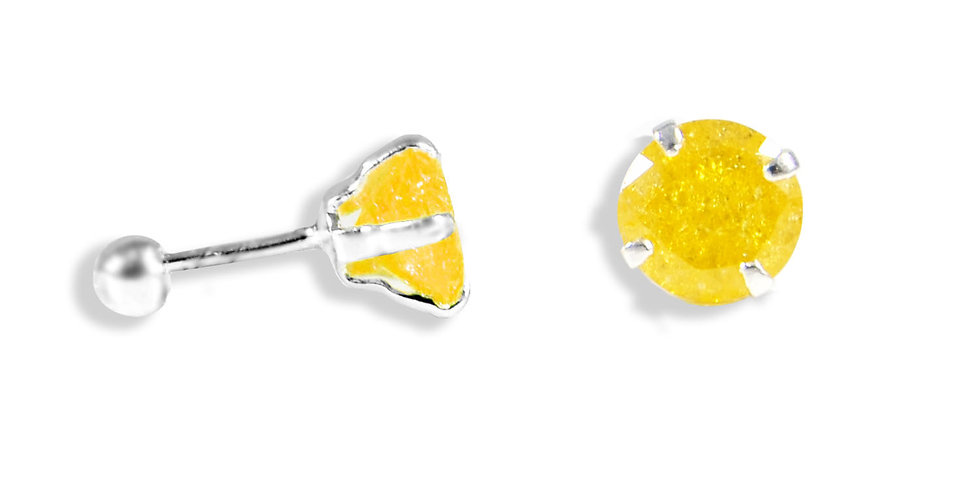 CRACKED CZ YELLOW EARRINGS 6MM