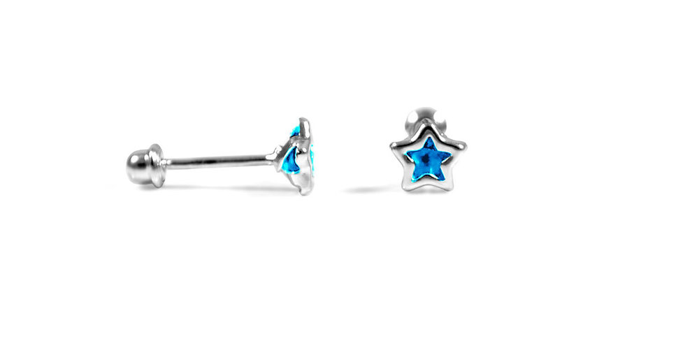 LIGHT BLUE STAR CZ EARRINGS 5MM