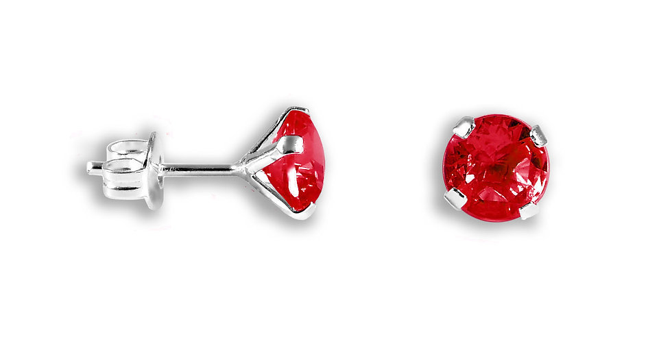 CZ RED ROUND EARRINGS 6MM