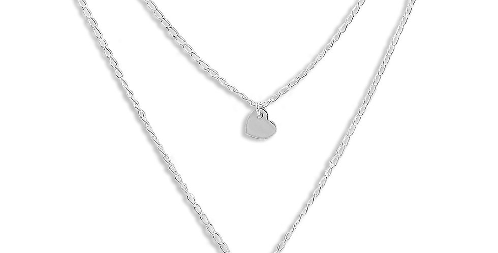 HEART DOUBLE NECKLACE 18 INCHES