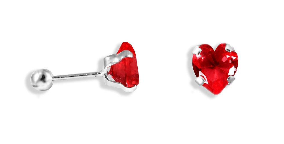 BROQUEL CORAZON ZIRCONIA ROJA 6MM
