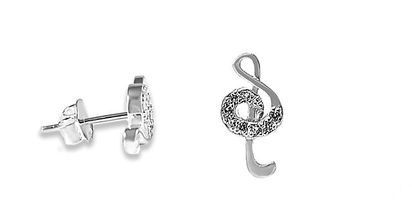 CZ MUSICAL NOTE EARRINGS 15MM