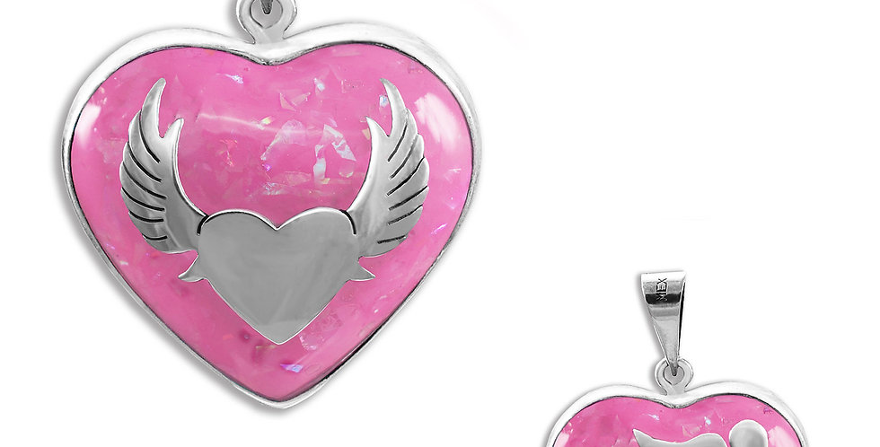 WINGS AND BUTTERFLY ANGELS CALLER HEART PENDANT 28MM