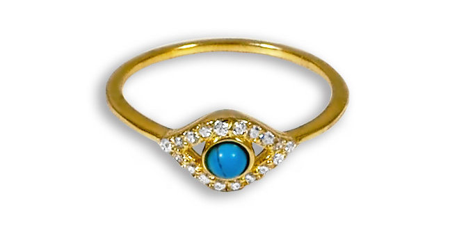 CZ EVIL EYE GOLD PLATED RING