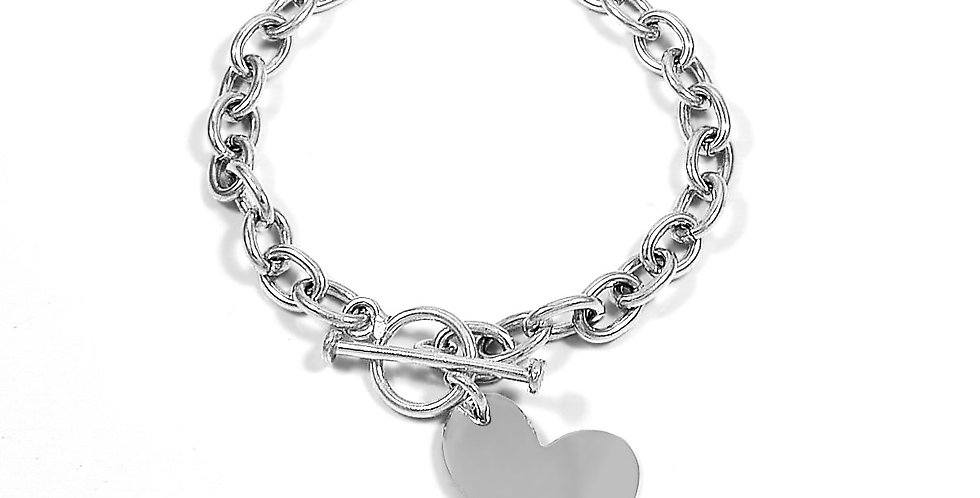 HEART CHARM BRACELET 6.5 INCHES