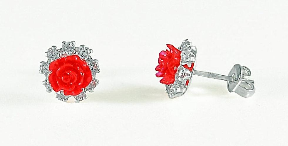 CZ RED ROSE FLOWER 10MM