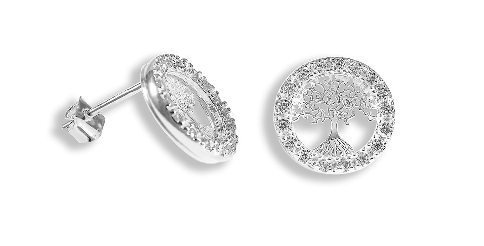 CZ TREE OF LIFE EARRINGS 12MM