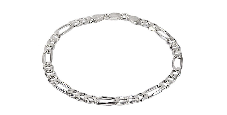 6MM FIGARO LINK CHAIN BRACELET 9 INCHES