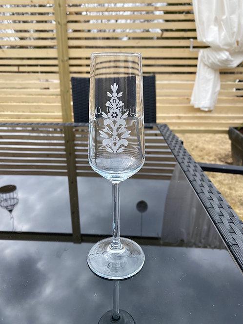 Champagneglas  - Kurbits och Text