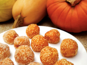 "Coming soon! Chinese pumpkin sesame ""doughnut"" balls recipe"