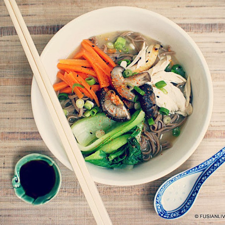 Noodles in ginger miso with Chinese greens recipe