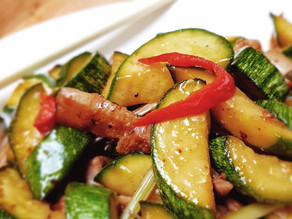 Sizzling Courgettes with lemongrass and pork belly recipe