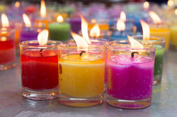 colorful burning candles