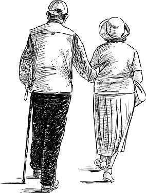 Elderly couple walking - pencil drawing.