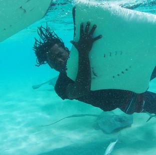 Holding Stingray at the Sandbar in Grand Cayman
