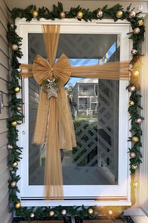 Metallic Door Bow - Glittery Gold