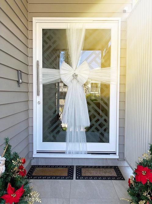 Luxe Door Bow - Winter White