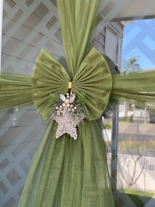 Twinkle Door Bow - Garland Green