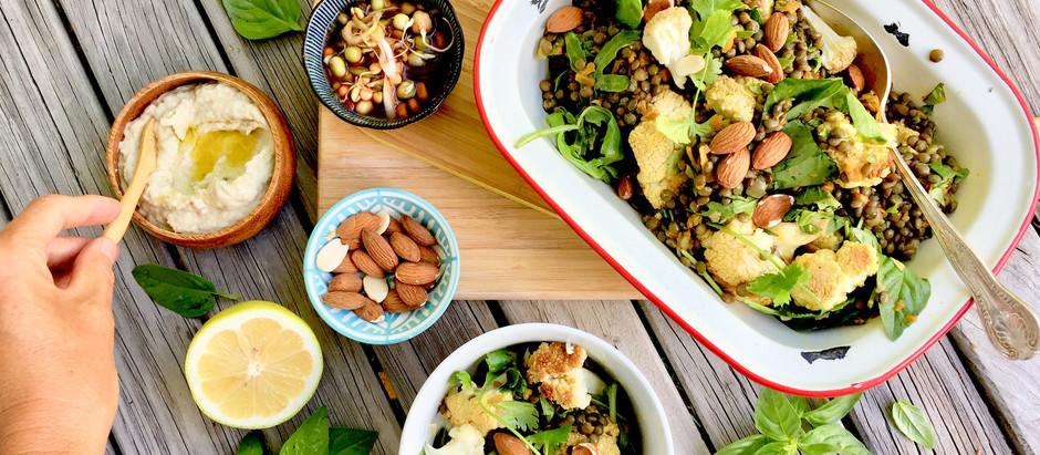 Roasted Cauliflower & French lentils with Smokey Eggplant & Almonds