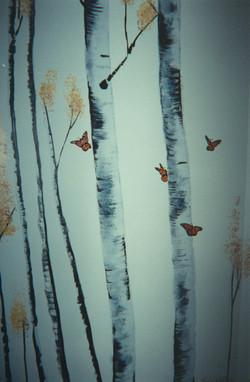 Monarch on Birch Trees