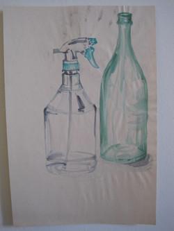 Empty Bottles Still Life Painting