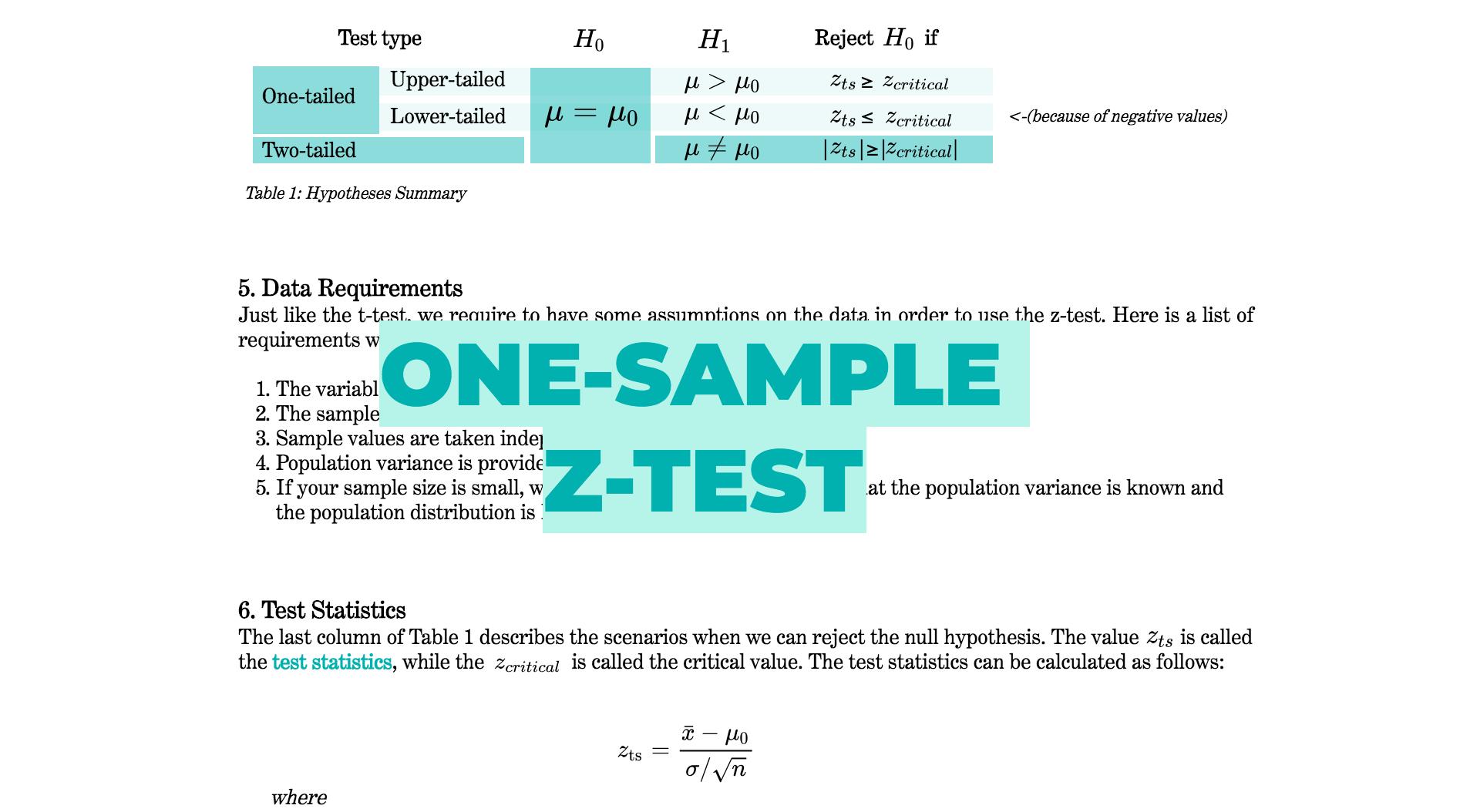 Tlm One Sample Z Test