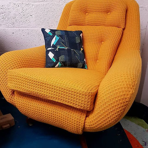 Vintage 1960's Parker Knoll Egg Chair, Fully Reupholstered in Mustard Bute wool