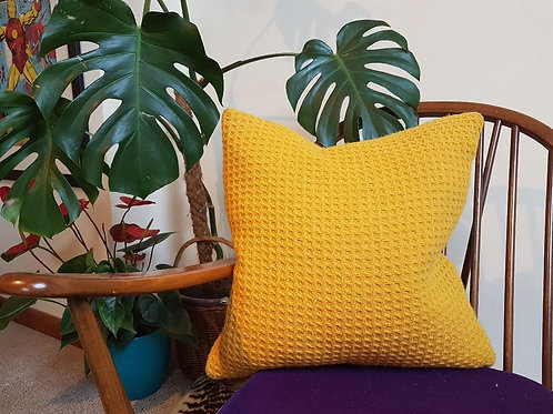 Mustard yellow waffle wool cushion