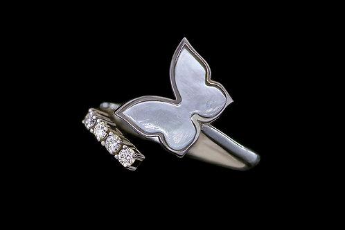 Prsten FLY s diamanty a perletí