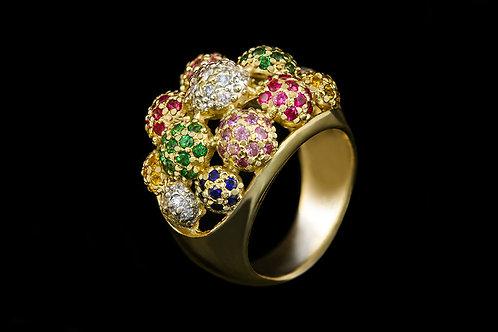 Prsten DUHA s diamanty, rubiny, safíry, citriny a peridoty