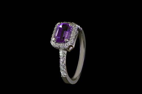 Prsten VIOLKA s ametystem a diamanty