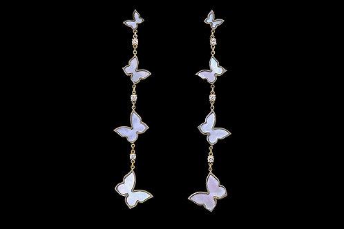 Náušnice FLY s diamanty a perletí