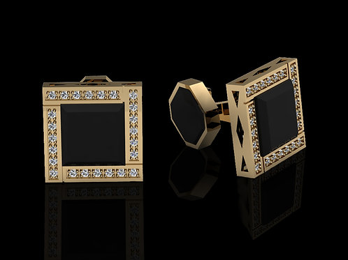 Zlaté manžetové knoflíčky ELEGANT s diamanty a onyxy