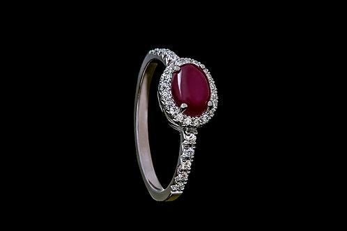 Prsten ELEGANT s rubínem a diamanty