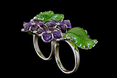 Prsten ULTRA s ametysty, jadeity a diamanty