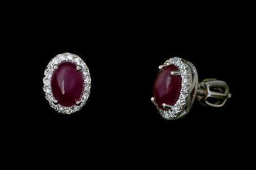 Náušnice ELEGANT s diamanty a rubiny