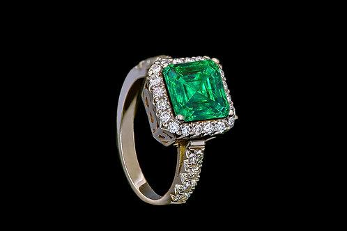 Prsten GREEN SHINE se smaragdem a diamanty