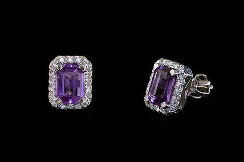 Náušnice VIOLKA s diamanty a ametysty