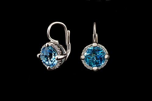 Náušnice BLUE s diamanty a topazy
