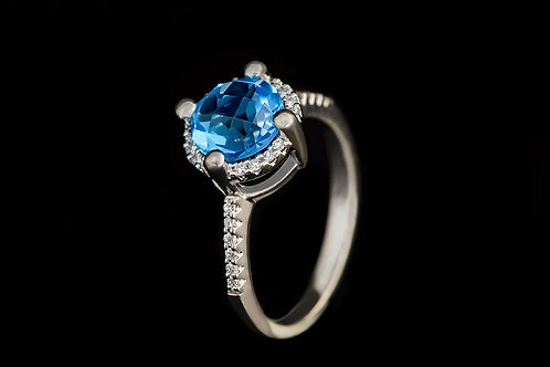 Prsten BLUE s topazem a diamanty