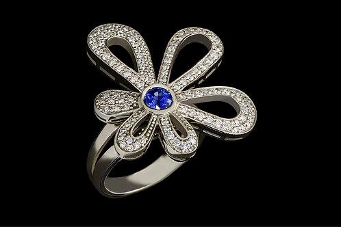 Prsten KVĚTINA se safírem a diamanty