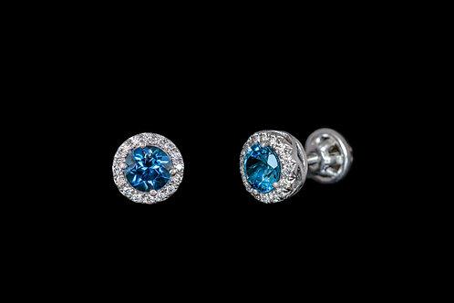 Náušnice LONDON s diamanty a topazy